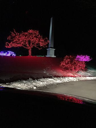 Christmas light display at the Joseph Smith Memorial in South Royalton.
