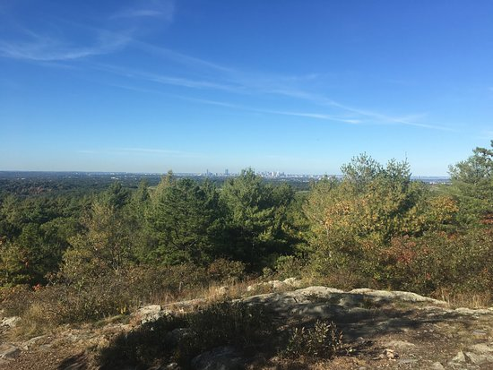 Milton, MA: View of Boston from the top of a hill in the reservation.