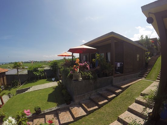Jembrana, Indonezja: Well maintained garden, rice paddies, and ocean view from Ocean View Room