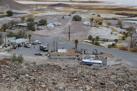 Back of Tecopa Hot Springs from top of hill in back.