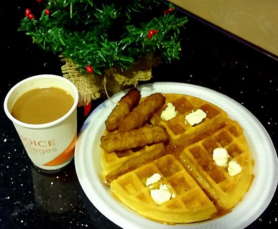 Comfort Suites Mobile: A hot waffle, sausage, & delicious coffee...
