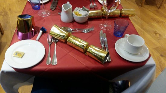 Carvery and Grill: Christmas table laid out with Christmas Novelties