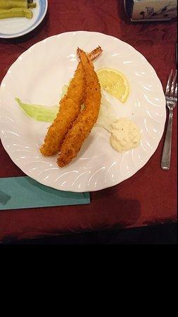 Hotel Cerulean Alpine: 夕食その2。メインのえびフライです