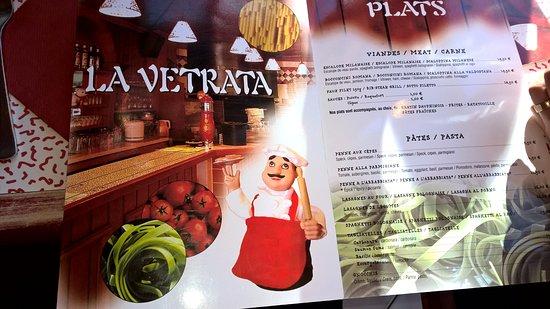 La Vetrata : Die Speisekarte