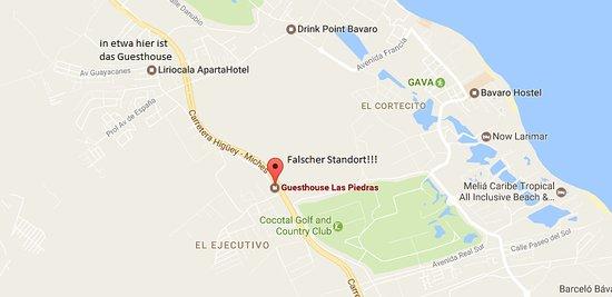 Guesthouse Las Piedras : In Googlemaps ist das Guesthouse an völlig falscher Stelle eingezeichnet