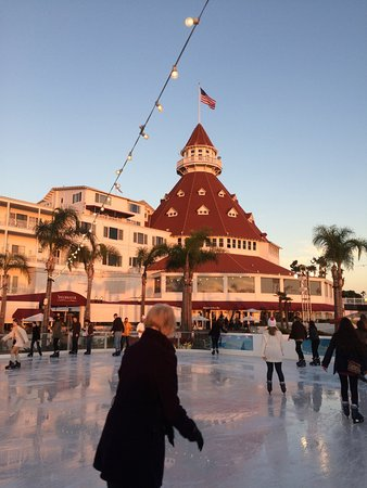 Hotel Del Coronado Ice Skating Rink Across From The Beach Goes Up Each December
