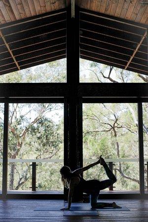 Maraylya, Australia: The yoga room with its bamboo floorboards