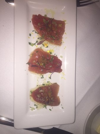 Clayton, MO: Yellowtail crudo from the tasting menu.  Perfect amount of fresh and salty.