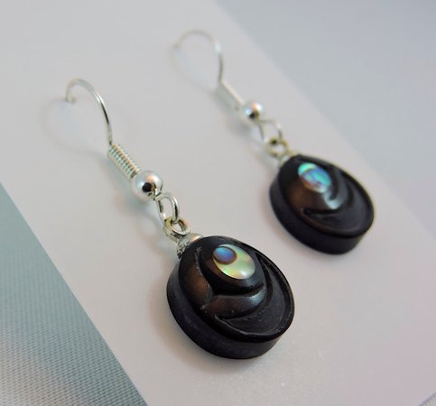 Tlell, Canada: Argillite carved Haida Salmon Egg Earrings by Artist Myles Edgars