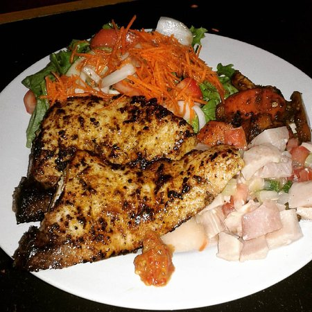Holetown, Barbados: Grilled Mahi mahi served with a garden salad, grilled vegetables and fish ceviche