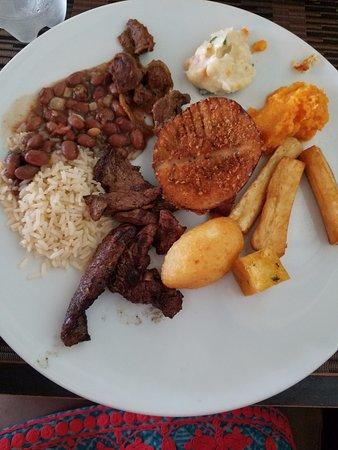 The Kitchen : Rice, beans, mandioca frita, steak, polenta frita.