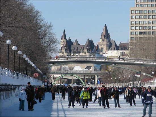 Ottawa, Canada: Rideau Canal in the wintertime - Chateau Laurier in the background