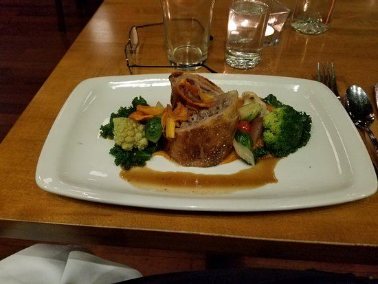 Chives Canadian Bistro: Lamb Wellington With Vegetables and Sweet Potato Puree