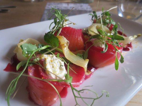 Cranborne, UK: Beetroot Cured Salmon starter