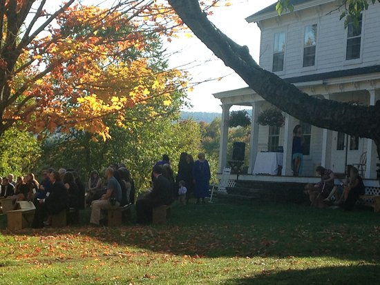 Roxbury, NY: Wedding in front of Inn.