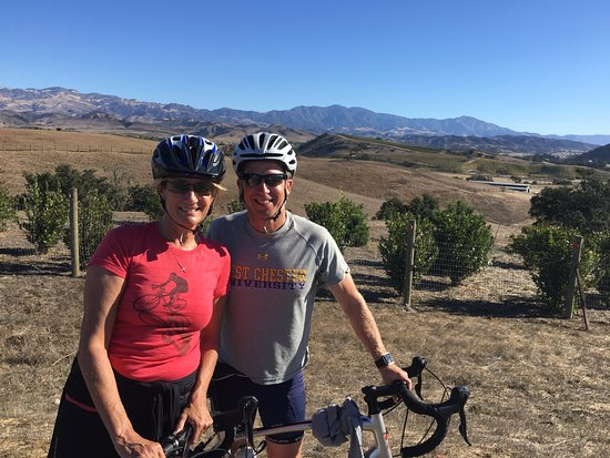 Santa Barbara Wine Country Cycling Tours - Day Tours: Fritz and Cathy in the beautiful Santa Ynez Valley.