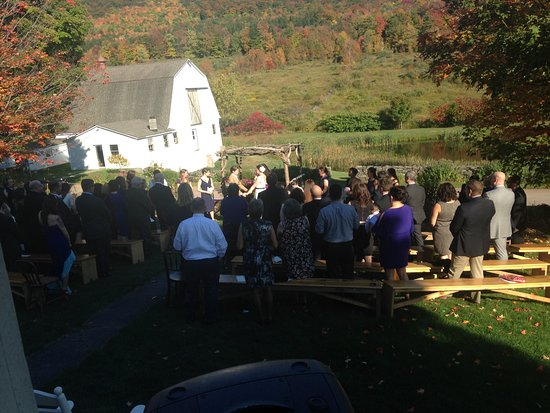 Roxbury, NY: Wedding in front of Inn