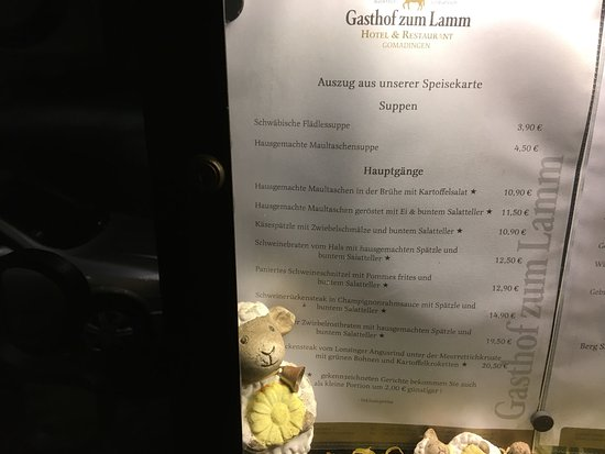Gomadingen, เยอรมนี: The gasthof and the menu