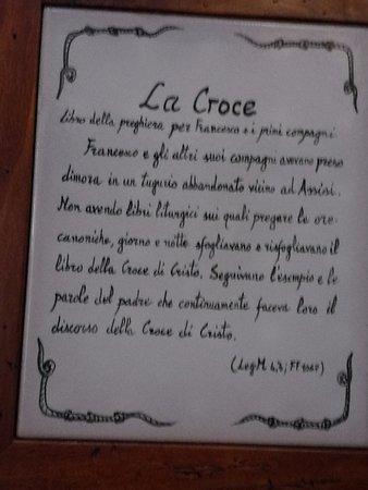 Rivotorto, Italy: descrizione della stanza della Croce