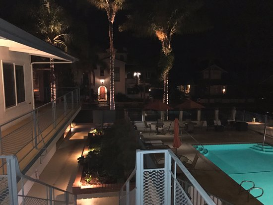 A look over the pool and hotel in the evening
