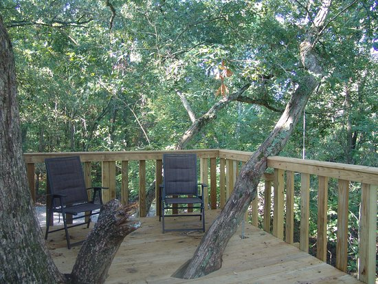 Timber Ridge Outpost & Cabins: White Oak treehouse upper deck ~ 24' up!