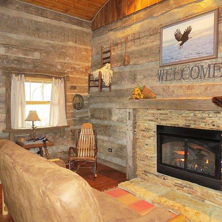 Elizabethtown, IL: Twin Oaks log Cabin living room area