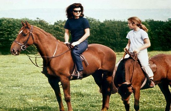 Mrs JF Kennedy riding in Woodstown  during her holiday there.