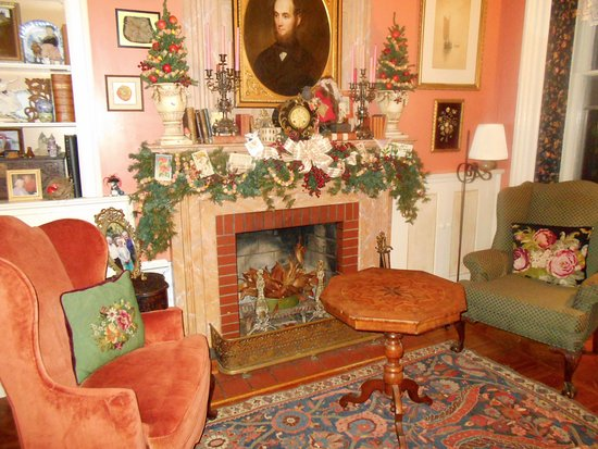 Rome, NY: The Drawing Room at Christmas...Victorian decorations abound...