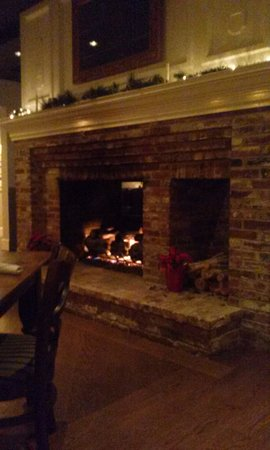 Coast Bar + Bistro: double-sided fireplace