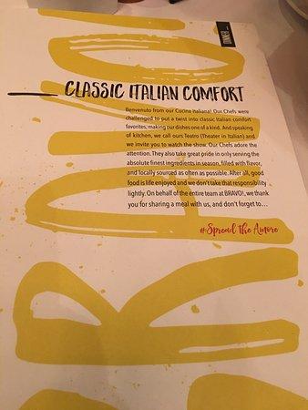 Bravo Cucina Italiana : menu