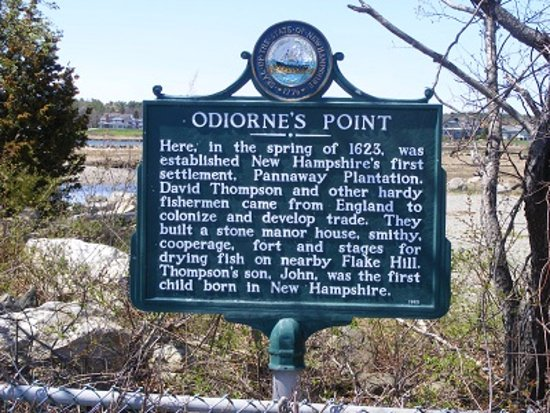 Rye, NH: A historical marker offers a bit of history about Odiorne Point.