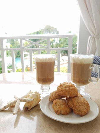 Grab a coffee beverage and some cookies from Cafe Paris