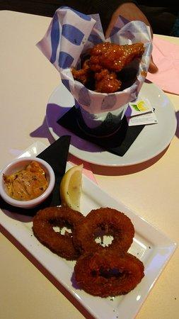 Attleborough, UK: Peri Peri Buffalo Wings and Panko Coated Squid Rings