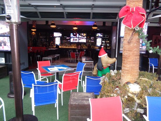 patio and inside picture of american beer cocktails at the