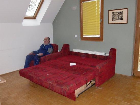 Lendava, Slovenia: opened couch