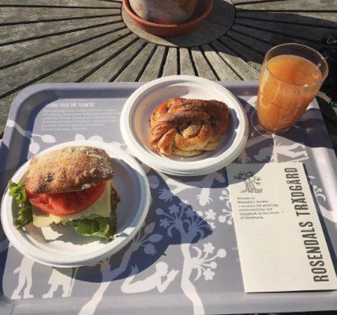 Rosendals Tradgardskafe : Cardamon Bun, Vegetarian roll and warm apple cider