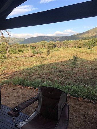 Lavumisa, Swaziland: Deck with 2 chairs overlooking veld
