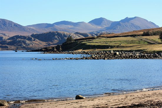 Through the garden & along the path, Laide beach with An Teallach in the background.