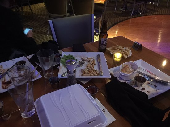 DoubleTree by Hilton - Washington DC - Crystal City: This is how our table looked when we paid. Server NEVER pre-cleared /checkback too late to matte