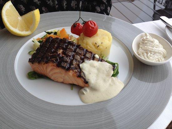 Il salmone alla griglia preso da mia moglie foto di - Griglia da cucina ...