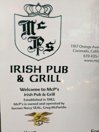 Mc P's Irish Pub & Grill, Coronado - Menu, Prices ...