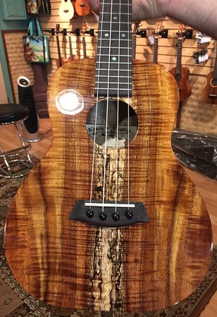 Kaneohe, HI: A close-up on one of their ukuleles in the Kanile'a showroom