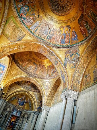 Venetoinside: Shot from inside the only area of St Mark's Basilica where photos are allowed. Gold foil ceiling