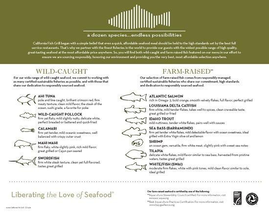อัปแลนด์, แคลิฟอร์เนีย: California Fish Grill - Upland Menu