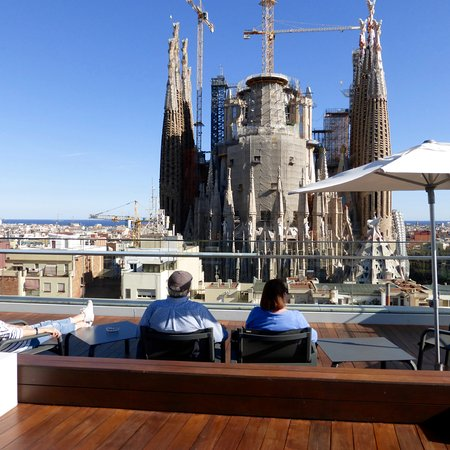 The Roof Top Bar With The Sagrada Directly Opposite Picture Of