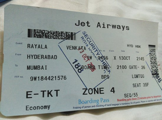 Boarding Pass Picture Of Jet Airways World Tripadvisor