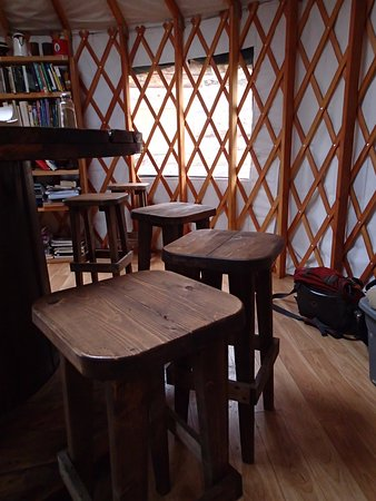 McCarthy, AK: Dining area inside the yurt.