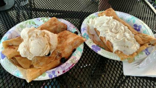 Kingston, WA: Apple crepe with ice cream and Nutella Strawberry with Whipped Cream