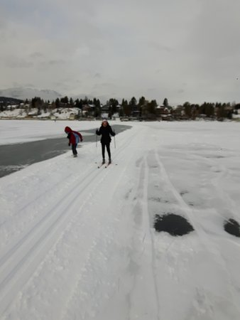 Windermere, Canada : Pista de skating e cross-country sobre o lago