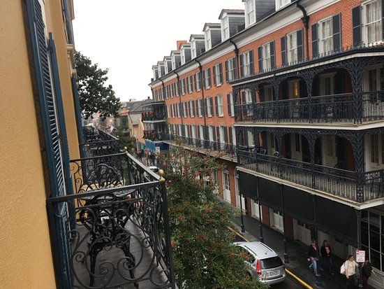 balcony view overlooking bienville towards bourbon street. Black Bedroom Furniture Sets. Home Design Ideas